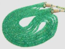 """Ebay 300 ct 5 Strand Natural Emerald Faceted Beads 18"""" Necklace Free Shipping"""