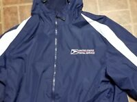 USPS POSTAL SPORT TEK FLEECE LINED HOODED WINDBREAKER EMBROIDERED LOGO SMALL 6X