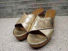 Sam & Libby Gold Criss Cross Faux Leather Sandals Cork Wedge Heels Womens Sz 9