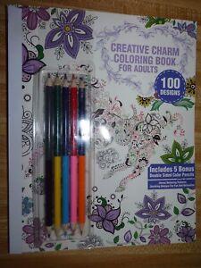 CREATIVE CHARM Coloring Book for Adults ~ 100 DESIGNS W/ 5 Bonus double Pencils