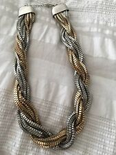 Forever21 Necklace Gold Silver Chain Twist Rope Chunky