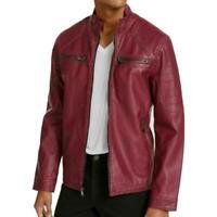 "INC Men""s Washed Moto Faux Leather Jacket Radiating Berry All Sizes"