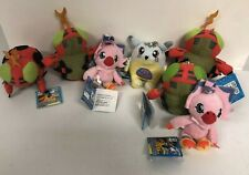 Digimon Mini Plush Gabumon +Tentomon + Biyomon - Lot of 7 Keychain Toys NWT