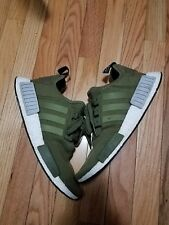 Adidas NMD R1 OLIVE GREEN GREY BOOST 3M REFLECTIVE OF SIZE 9.5 USED 7/10
