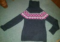 Alpaca Wool Jumper Grey Black Pink Zig Zag Pattern Happiness M Medium Polo Neck