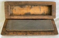 ** VINTAGE SHARPENING HONING STONE FARM / BUTCHER'S / BARBER'S TOOL WOOD CASE **