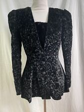 Vtg 80s Scott McClintock Fitted Black Velvet Jacket with Peplum Gorgeous Size 6