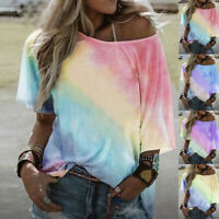Women's Gradient Tie-Dyed Short Sleeve T-Shirt Tops Ladies Casual Loose Blouse