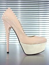 SCARPE GIANRICO MORI SHOES PUMPS HIGH HEELS DECOLLETE TACCO ALTO NUDE BEIGE 38