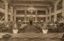 PHILADELPHIA ~1930 Hotel The Benjamin Franklin Main Lobby Vintage Postcard AK