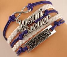 "Justin bieber ""8"" Best friend Infinity Braided Purple white Leather Bracelet"