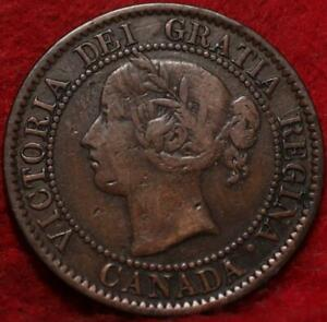 """1859/8 Wide """"9"""" Canada One Cent Foreign Coin"""