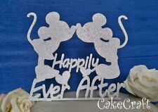 Glitter Mickey Minnie Mouse Happily EverAfter anniversary cake topper decoration