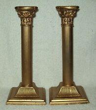Pair of Vintage William Adams Italy Corinthian Column Candlestick Holders Brass