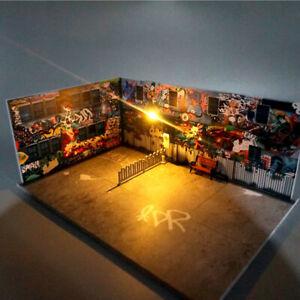 1:64 Model Car Diorama Graffiti Wall Scenery with LED Lamp Street Corner Scenery