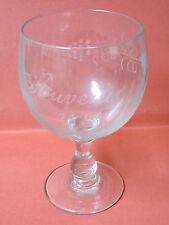Grand Verre Souffle Main Gravé  souvenir 1888 Décor Vignes