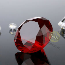 Red Crystal Glass Cut Giant Diamond Jewel Paperweight Wedding Decor Gift 30mm