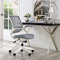 Ergonomic Swivel Mesh White Base Computer Desk Task Office Chair in Gray