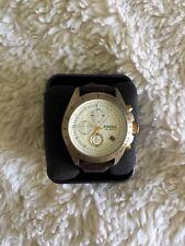 Fossil Men's Decker DE-5004 Chronograph Watch Brown Leather Strap NWT