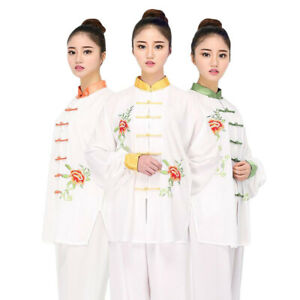 Linen Martial Arts Uniform Kungfu Tai Chi Suit Wing Chun Clothes Set Embroidery