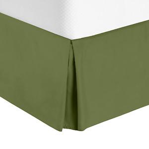 "Luxury Pleated Tailored Bed Skirt - 14"" Drop Dust Ruffle, Full XL - Calla Green"
