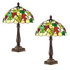 PAIR/TIFFANY STYLE TABLE LAMPS 61CM GRAPE DESIGN GLASS SHADES 40CM FREE BULBS