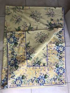 April Cornell 60x90 yellow floral cotton Tablecloth NEW