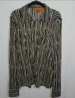 TORY BURCH Silk Iconic All Over Print Button Front Blouse Long Sleeve Size Large
