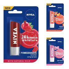 NIVEA caring Lip Balm, Pink Guava, Soft Rose, Peach, Pomegranate  Shine 4.8g