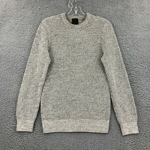H&M Size S Small Sweater Pullover Long Sleeve Gray Knit Crew Neck Mens