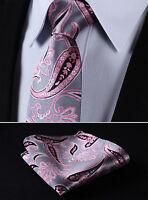 """TP905K8S Pink Gray Paisley 3.4"""" Silk Woven Men Tie Necktie Handkerchief Set"""