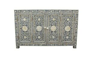 Indian Luxury Bone Inlay Sideboard with 4 Doors In Grey Color