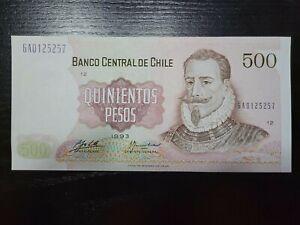 🇨🇱 Chile 500 pesos  P-153  1993 UNC  Banknote 062121-5