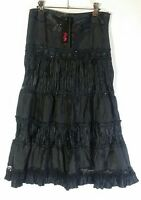 CKM Caroline Morgan Black Sequinned & Beaded Tiered Waterfall Skirt Lined Size 8