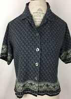 Tommy Bahama Womens Blouse Top Shirt Size S Short Sleeve 100% Silk Multi Color