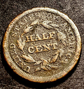 Braided Halr Half Cent 1/2c Rare Obsolete Type Coin Lowball Filler
