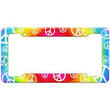 Tie Dye Peace Hippie Rainbow Pattern License Plate Frame