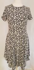 Womens Marks And Spencer Fit And Flare Tea Dress White Blue Floral 10 petite New