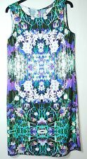 PURPLE WHITE FLORAL LADIES CASUAL DRESS SIZE 10/38 BHS W