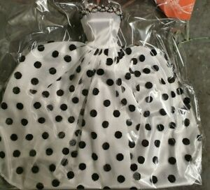 Quality White Spotted Polka Dots Made for Barbie doll ball gown dress UK Seller