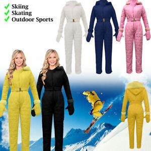 Damen Schneeoverall Schneeanzug Skianzug Winteranzug Snowboard Overall Jacke DE