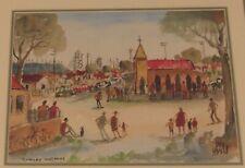 Signed Kevin Charles Pro Hart painting Sunday Morning Church Australia framed