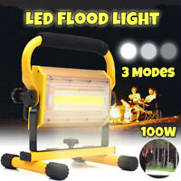 100W COB LED Portable Rechargeable Flood Light Spot Work Lamp Camping Outdoor