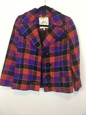 Milly Womens NYK Plaid Blazer Wool Blend Open Front, Button Design Size 0 A1406