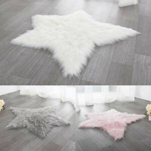 Star Shaped Fluffy Mat Rugs Kids Boys Girls Fake Faux Fur Bedroom Soft Rug Mats