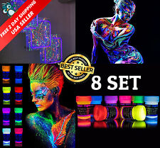 Neon Glow In The Dark Fabric Clothes Paint Party UV Premium Quality Painting Set