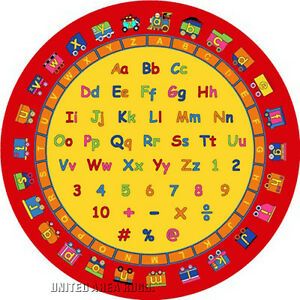 8x8 Round Rug Educational  Rug ABC Numbers & Letters Fun Train  Kids School Time