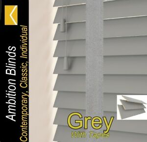 WOOD WOODEN VENETIAN BLINDS REAL WOOD GREY WITH TAPES  MADE TO MEASURE