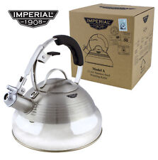 SILVER RETRO 50's StoveTop Whistling INDUCTION KETTLE Gas Electric Hob VINTAGE