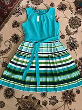 NWT TALBOTS WOMEN'S MULTICOLOR STRIPE BELTED PLEATED DRESS SIZE 10P